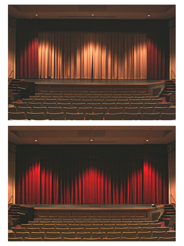 New curtains were installed on the stage of the Joan Kuyper Farver Auditorium this week.