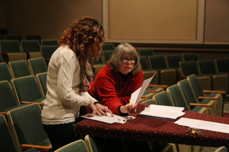 "Ann Wilkinson works with Wendy Vander Well during auditions of USP's ""Ham Buns and Potato Salad."""