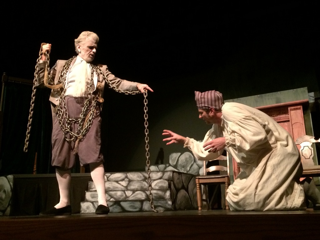 "Pat Moriarity (Ghost of Marley) and Lonnie Appleby (Scrooge) star in USP's production of ""A Christmas Carol"""